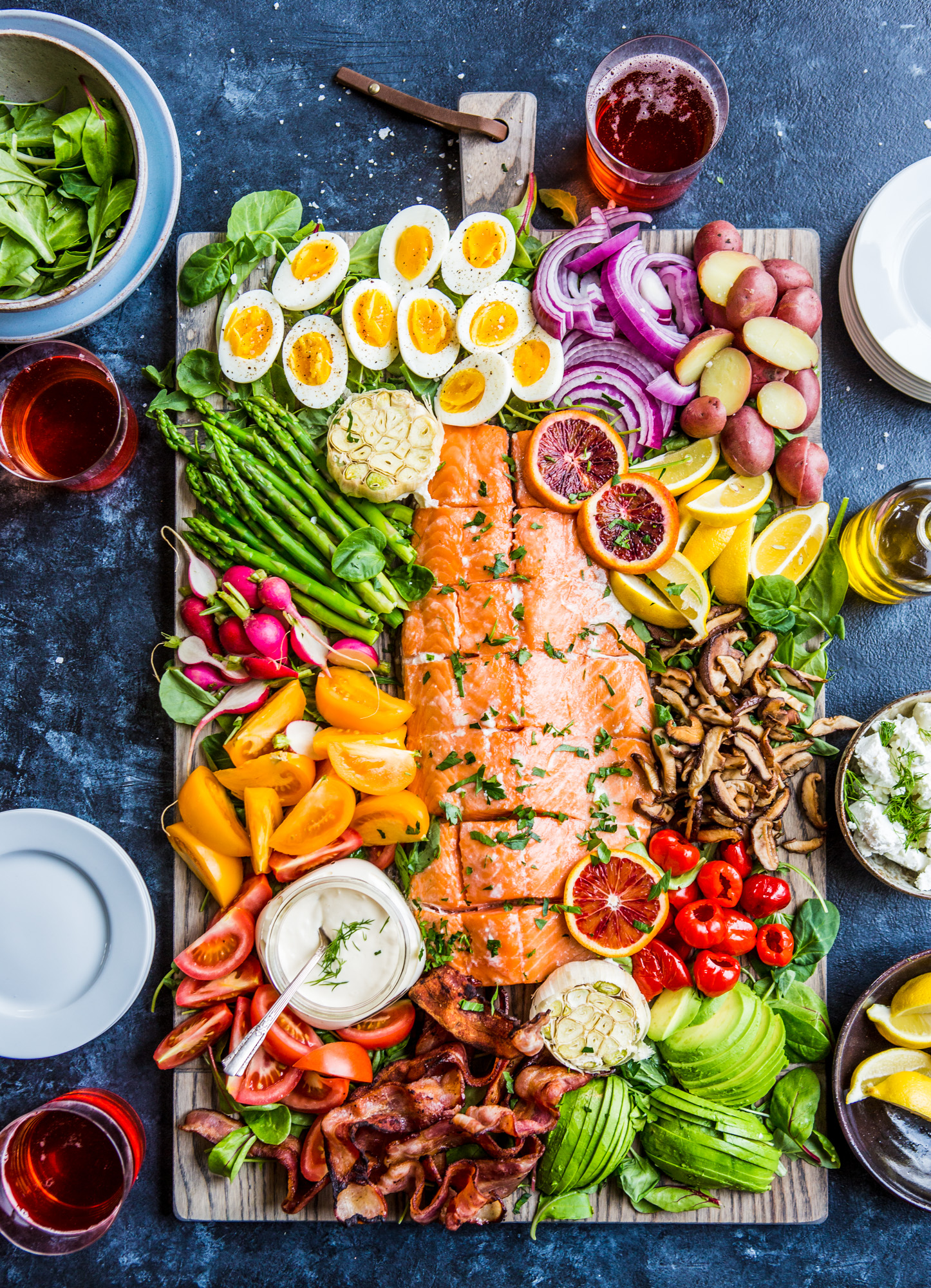 Cooking With Heinen S Salmon Cobb Salad Board 365barrington